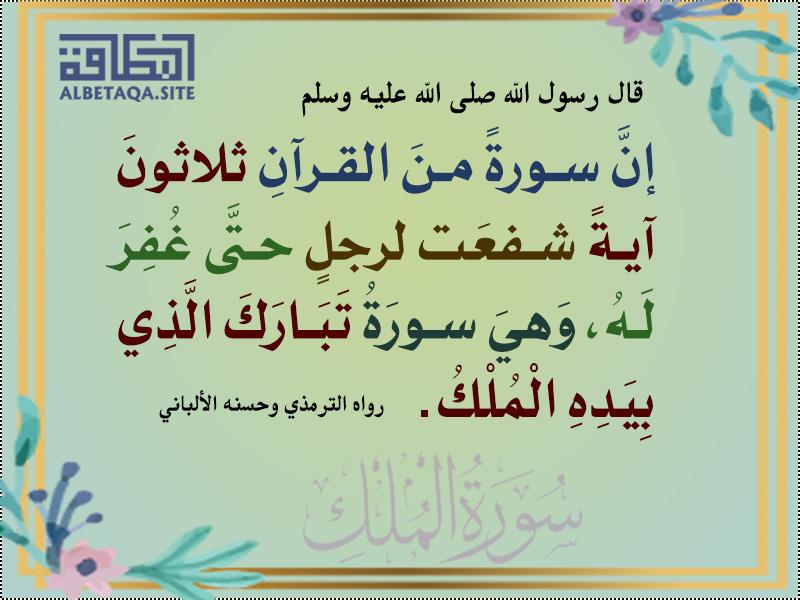 إن سورة من القرآن ثلاثون آية شفعت لرجل حتى غفر له